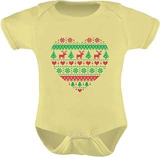 Tstars - Heart Shaped Ugly Christmas Sweater Xmas Cute Unisex Baby Bodysuit