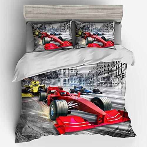 Bedding AX Funda nórdica Establece Gray 3D Formula Racing Funda nórdica edredón con Funda de Almohada, 1 Funda nórdica + 2 Fundas de Almohada 22 * 23cm