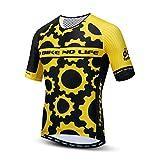 Fahrradbekleidung Herren Mountainbike Shirts 100% Polyester Rennrad Bekleidung Atmungsaktiv MTB Jersey - Gelb - 3XL Brust 122 cm