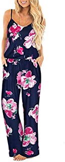 FIRMON Damen Sommer-Strampler mit V-Ausschnitt, mit Schnürung, Lange Hose Gr. XL, hot pink