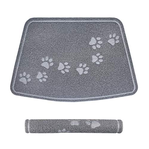 Stellaire Chern Pet Feeding Mat for Large Dogs and Cats 35  x 23  Flexible and Waterproof Dog Bowl Mat for Food and Water, Easy to Clean Dog Food Feeding Mat for Floor with Non Slip Backing, Grey