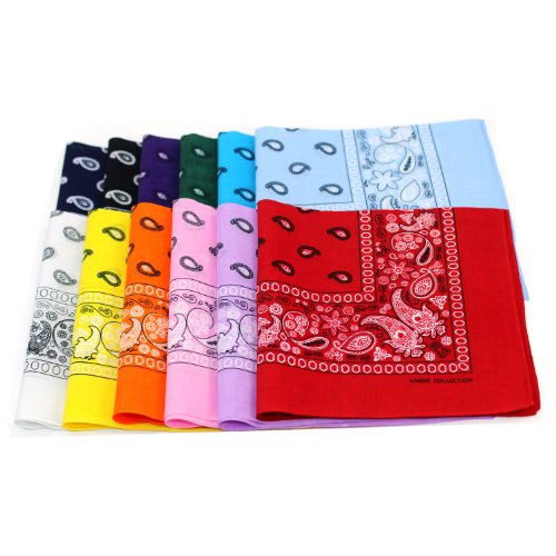 100% Cotton Double Sided Print Paisley Bandana Scarf, Head Wrap - 12 Colors 22 inch