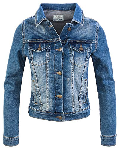 Rock Creek Damen Jeans Jacke Übergangs Jacke Denim Blouson Stretch Kurz Classic Jeansjacken Urban Stonewash D-401 Blau XL
