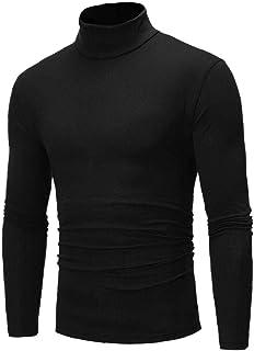 Hombre Camisetas de Cuello Alto de Manga Larga Tops Color sólido Camisa térmica Hombre Slim Fit compresión Camisetas Negro...