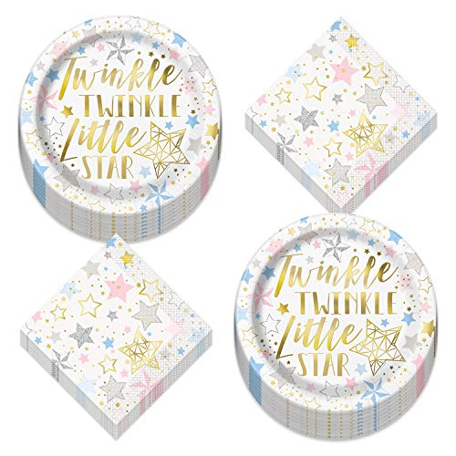 Twinkle Little Star Metallic Party Supplies - Shiny Gold Star Paper Dinner Plates & Luncheon Napkins (Serves 16)
