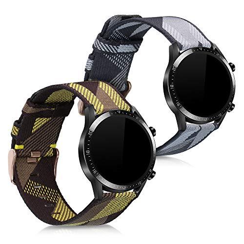 kwmobile Cinturino Compatibile con Huawei Watch GT2 (46mm) - 2X Fascetta per Smart-Watch Fitness-Tracker - in Nylon con Fibbia ca. 14-22 cm