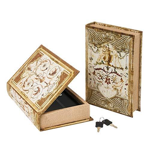 Set de 2 Cajas Libro de caudales de Polipiel y Metal con Flor de lis Marrones - LOLAhome