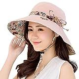 HAPEE - Sombrero de verano para mujer, factor de protección solar 50, reversible y plegable, ala ancha, ideal para la playa Rosa rosa Large