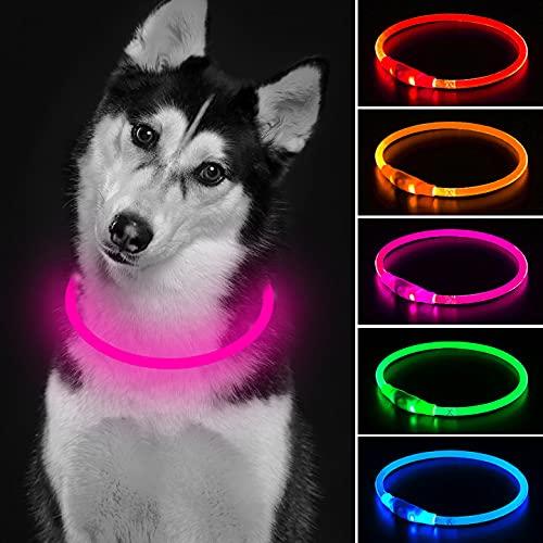 Collar de perro LED Mini USB recargable TPU con luz de seguridad para mascotas resistente al agua, collares básicos para perros pequeños, medianos y grandes (rosa)