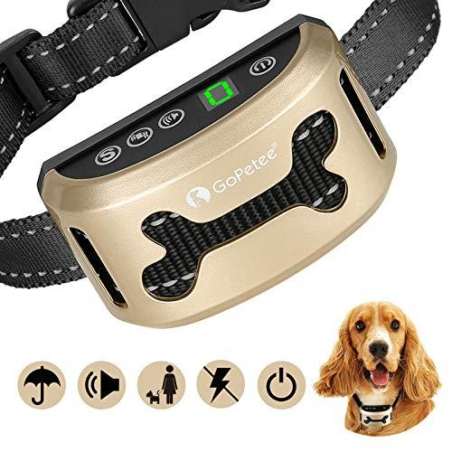 GoPetee Collar Antiladridos Recargable para Perros Pequeños Medianos y Grandes Collar Adiestramiento Recargable para Perros Sonidos y Vibraciones Audibles Chip Avanzado