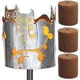 Novaliv Gartenfackel Eule Feuerschale Metall mit Stiel und 3xBrennmittel