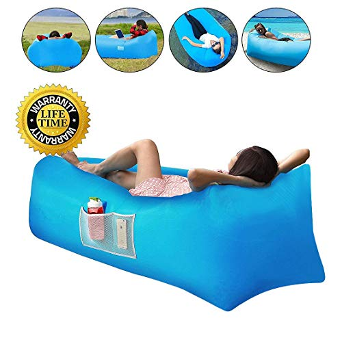Sofa Hinchable con Almohada Integrada y Bolsa,TumbonaInflable Cama,Sofa Inflable,Portátil Impermeable 210T Poliester Aire Sofá Inflable Sillón,Aire sofá para Viajes,Camping,Parque,Patio Trasero (A)