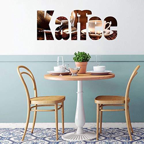 Wandtattoo Kaffee Schriftzug Wandsticker Wanddekoration selbstklebend Getränk Kaffeebohnen Genuss Café Aroma Wall-Art - 60x23cm