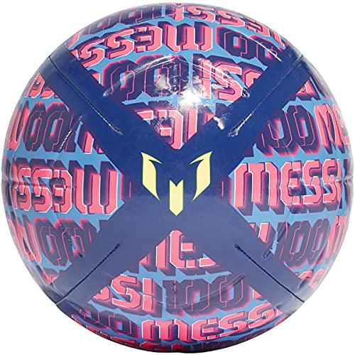 adidas Unisex-Adult Messi Club Soccer Ball, Victory Blue/Focus Blue/Shock Pink/Solar Yellow, 5