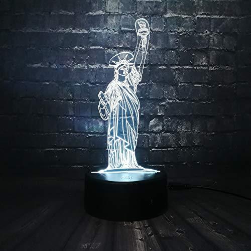 3D Optische Illusions Lampen Freiheitsstatue LED 7 Farben Touch-Schalter Ändern Nachtlicht Mit Fernbedienung und USB-Kabel Für Schlafzimmer Home Decoration