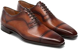 Costoso Italiano Brown Leather Formal Lace Up Brogue Dress Goodyear Welted Shoes for Men
