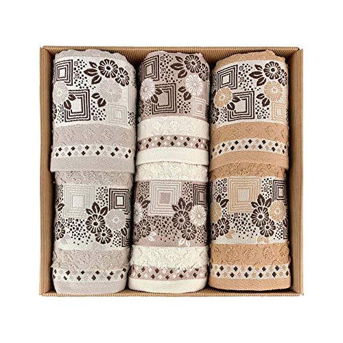 NADA HOME Ferlen 4024 - Juego de toallas de baño 3 + 3 de rizo para rostro y invitados
