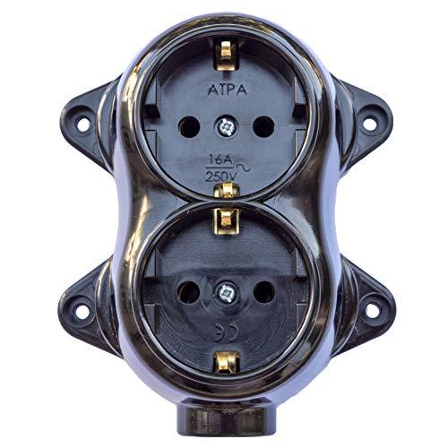 Enchufe Fest retro – 2 enchufes 16 A – 250 V de montaje de montaje de latón grueso negro retro baquelita óptica ALT