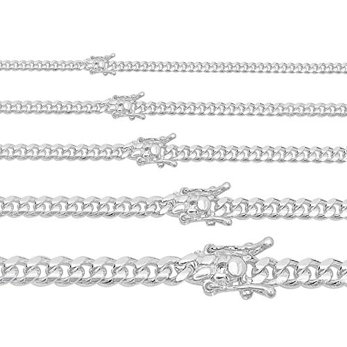 Miami Cuban Link Chain Or Bracelet - Solid 925 Silver Necklace - Box Lock Cuban Link 4-10.5mm (24, 6mm Wide)