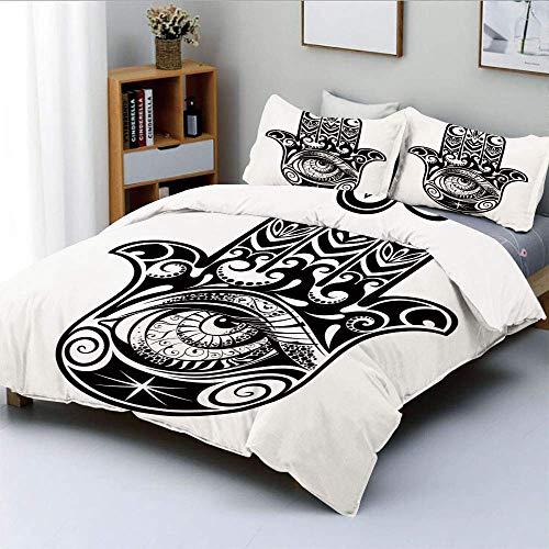 Juego de funda nórdica, arte árabe en blanco y negro Ícono oriental...