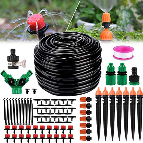 Philonext Drip Irrigation,130ft/40M Garden Irrigation System, Adjustable Automatic Micro Irrigation Kits,1/4' Blank Distribution Tubing Hose Suit for Garden Greenhouse, Flower Bed,Patio,Lawn (40M)
