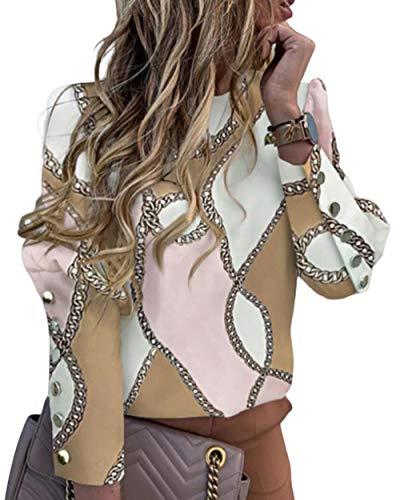 Blusas de manga larga para mujer, simple y pura, suelto, elegante, estilo de botón de metal, para…