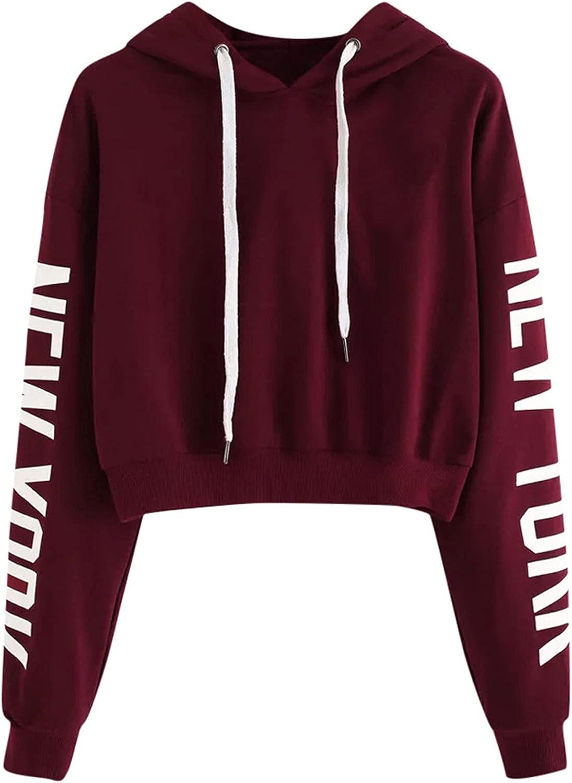 Toeava Women's Girls Cropped Hoodies,Casual Long Sleeve Hooded Sweatshirts Jacket NEW YORK Print Crop Tops Pullover