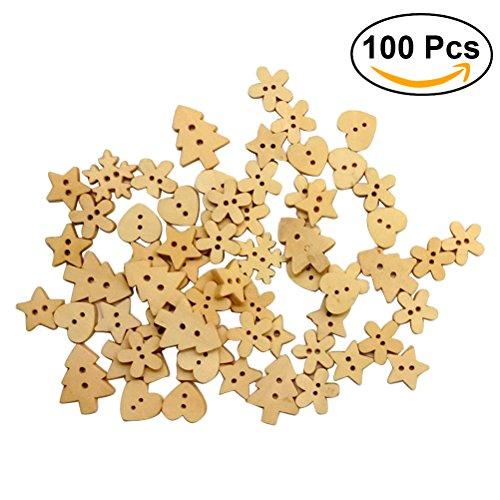 rosenice botones de madera forma de corazón flor árbol de Navidad Botones Navidad Botones decorativos 100piezas