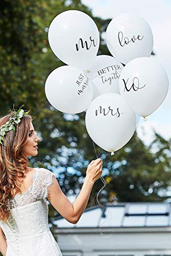 David's Bridal Scripted Wedding Balloon Bundle Style BR-374, White