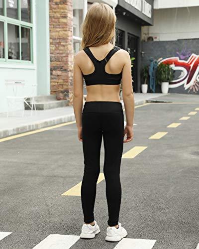 STELLE Girls Active Legging Yoga Pants for Workout Sport Running (Black, M)