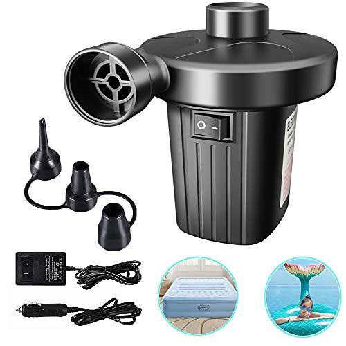 Focusky Electric Air Pump,Portable Quick-Fill Air Pump with 3 Nozzles,110V AC/12V DC, Perfect Inflator/Deflator Pumps for Pool Floats,Kayak, Inflatable Cushions, Air Mattress Beds, Swimming Ring