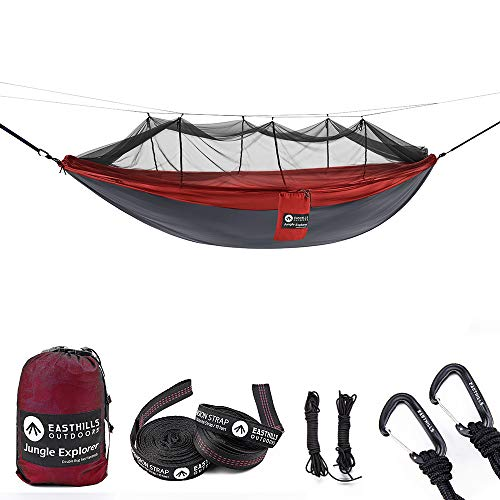 Easthills Outdoors Jungle Explorer 118' x 79' Portable Double Camping Hammock with Removable Mosquito Bug Net and Tree Straps