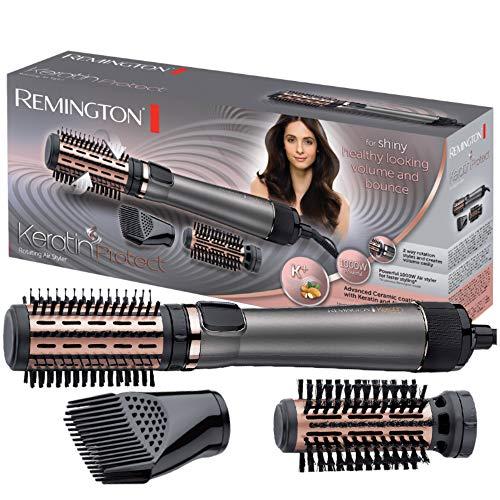 Remington Brosse rotative à air chaud(automatique)Keratin Protect(incl.3accessoires:2brosses rondes+booster de délié pour plus de volume,revêtement céramique kératine enrichi en huile d'amande)AS8810