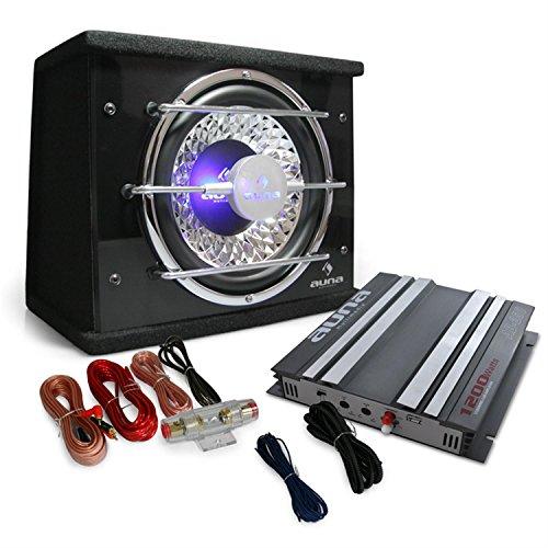 Auna Platin Line 100 Equipo de Sonido para Coche HiFi (1x Amplificador 2 Canales 1200W, 1x subwoofer 10