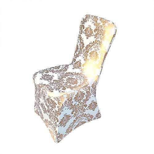 Namvo 4 sztuki pokrowców na krzesło spandex Lycra Stretch pokrowiec ochronny na wesele, bankiet, elastyczny ochraniacz na krzesło do jadalni (białe złoto)