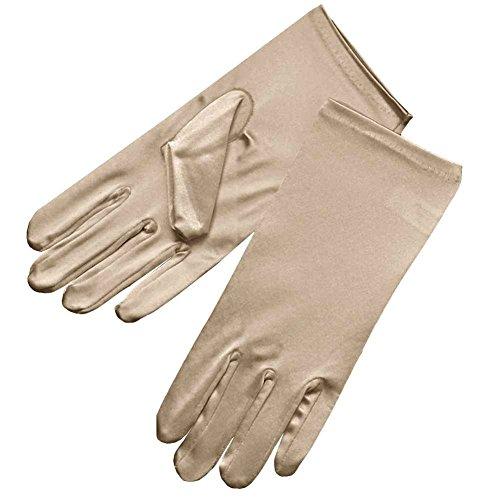 ZaZa Bridal Shiny Stretch Satin Dress Gloves Wrist Length 2BL-Champagne
