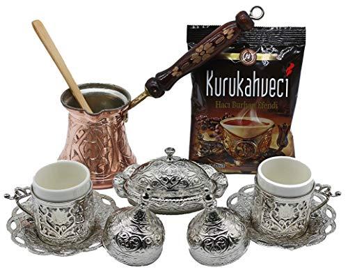 HeraCraft - Set regalo per caffè e caffè espresso turco greco arabo con pentola in rame, tazze, piattini, zuccheriera, cucchiaio e caffè da 100 g, 13 pezzi Argento