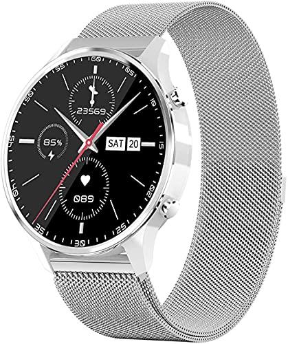 Reloj inteligente para hombre con Bluetooth, notificación de SMS, resistente al agua, contador de pasos, reloj de actividad, rastreadores de actividad, color gris y acero inoxidable