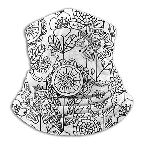 Bandana sin costuras para el cuello de la flor, color blanco y negro