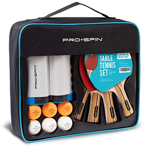 PRO SPIN Play Anywhere Portable Ping Pong Set – 4-Player Kit with Ping Pong Net for Any Table, Premium Ping Pong Paddles, 3-Star Balls, Convenient Storage Case | Table Tennis Set with Retractable Net