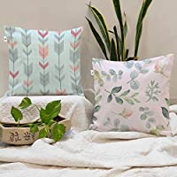 BRICK HOME Floral Printed Canvas Cotton Cushion Cover, 24x24 Inches, Set of 2