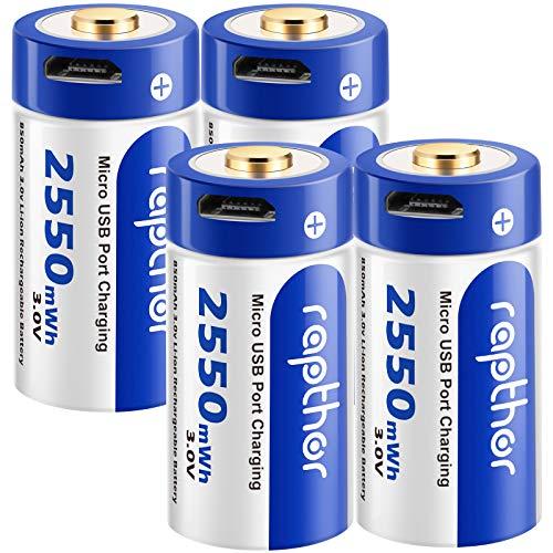 Pilas Recargables para cámara Rapthor Arlo de 850 mAh compatibles con la cámara de Seguridad inalámbrica Arlo CR123a Batería de Litio de 3 V con Cargador, Paquete de 4 (USB-4)