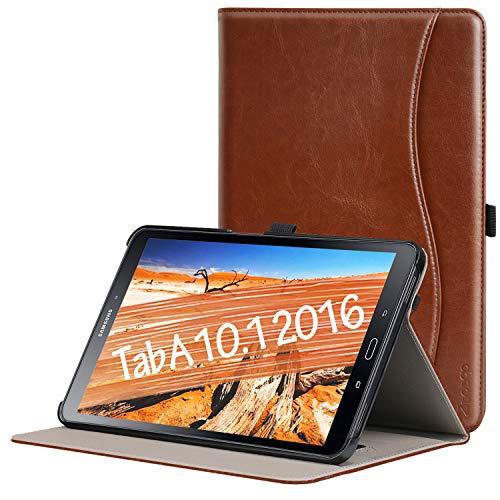 Ztotop Custodia per Samsung Galaxy Tab A 10,1 2016,per Modello SM-T580/T585(Versione Non S Pen),Custodia in Pelle con Supporto,Tasca,Funzione Sveglia/Sonno Auto,Multi-Angolo,Marrone