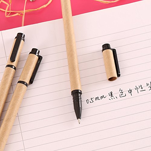 0.5mm Medium Point Writing Gel Ink Rollerball Pen Set Creative Eco Friendly kraft Paper Barrel Pens Premiun Rolling Ball Pens Refillable Pen Office School Home Writing Supplies, Black Ink, 10-Count