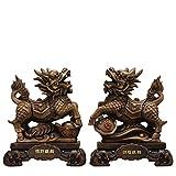 LHMYGHFDP Qilin Feng Shui Statue glückverheißende Charakterdekoration Geschenk geeignet, um böse Energie Dekoration Büro & Haushaltsharz Handwerk zu verhindern (1 Paar)