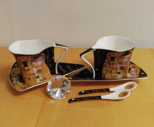 Atelier Harmony Teetassen Kaffeetassenset 6teilig Gustav Klimt schwarz Der Kuss Porzellan mit Geschenkbox NEU Limited Collection