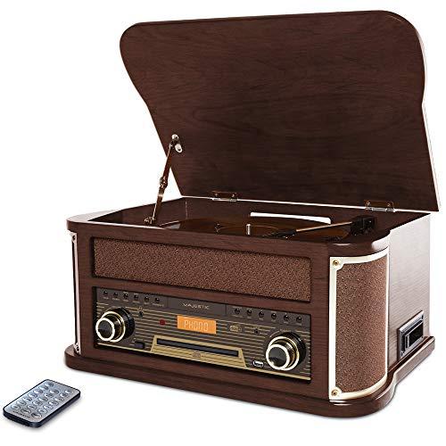 Majestic TT 47 DAB - Giradischi 33/45/78 giri, Bluetooth, Radio DAB+ e Fm, Lettore CD/MP3, Ingresso Usb, Cassetta, Telecomando, marrone