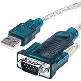 RS232 USB 変換ケーブル シリアル 変換アダプタ 1m wuernine PL2303チップセット内蔵 USB 2.0 D-sub9ピン オスオス Windows 10, 8.1, 8, 7, Mac OS X 10.6など対応