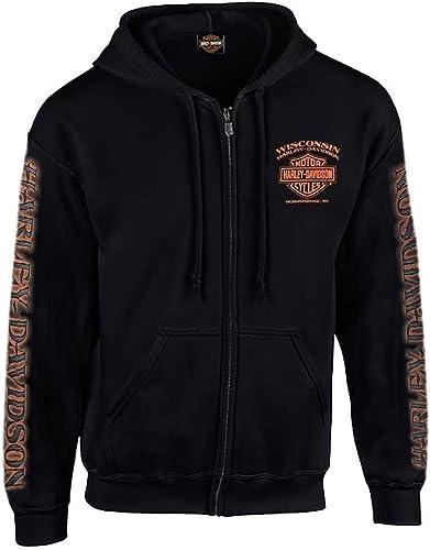 Harley-Davidson Men's Eagle Piston Long Sleeve Full-Zip Hoodie, Black 30299950