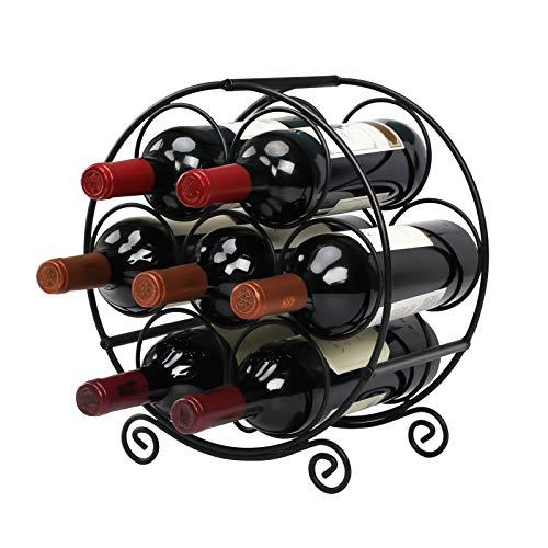 Wine Racks Countertop, 7 Bottles Wine Organizer Stand, Metal Free Standing Wine Storage Holder, Water Bottle Holder Stand-Black